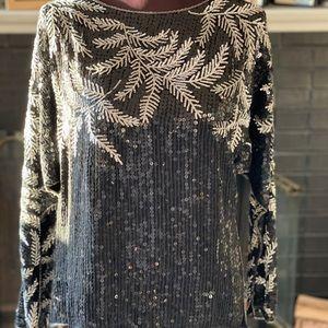Silk sequin top